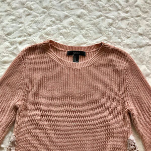 Forever 21 Sweaters - Forever21 Pink Knit with Lace Panels sz M